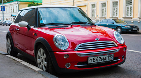Red Mini Cooper on Road